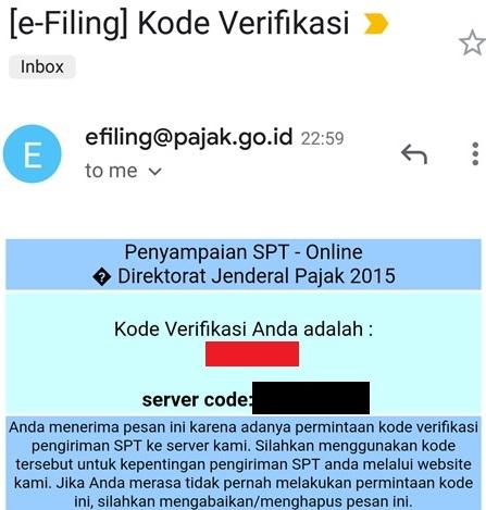 kode verifikasi spt
