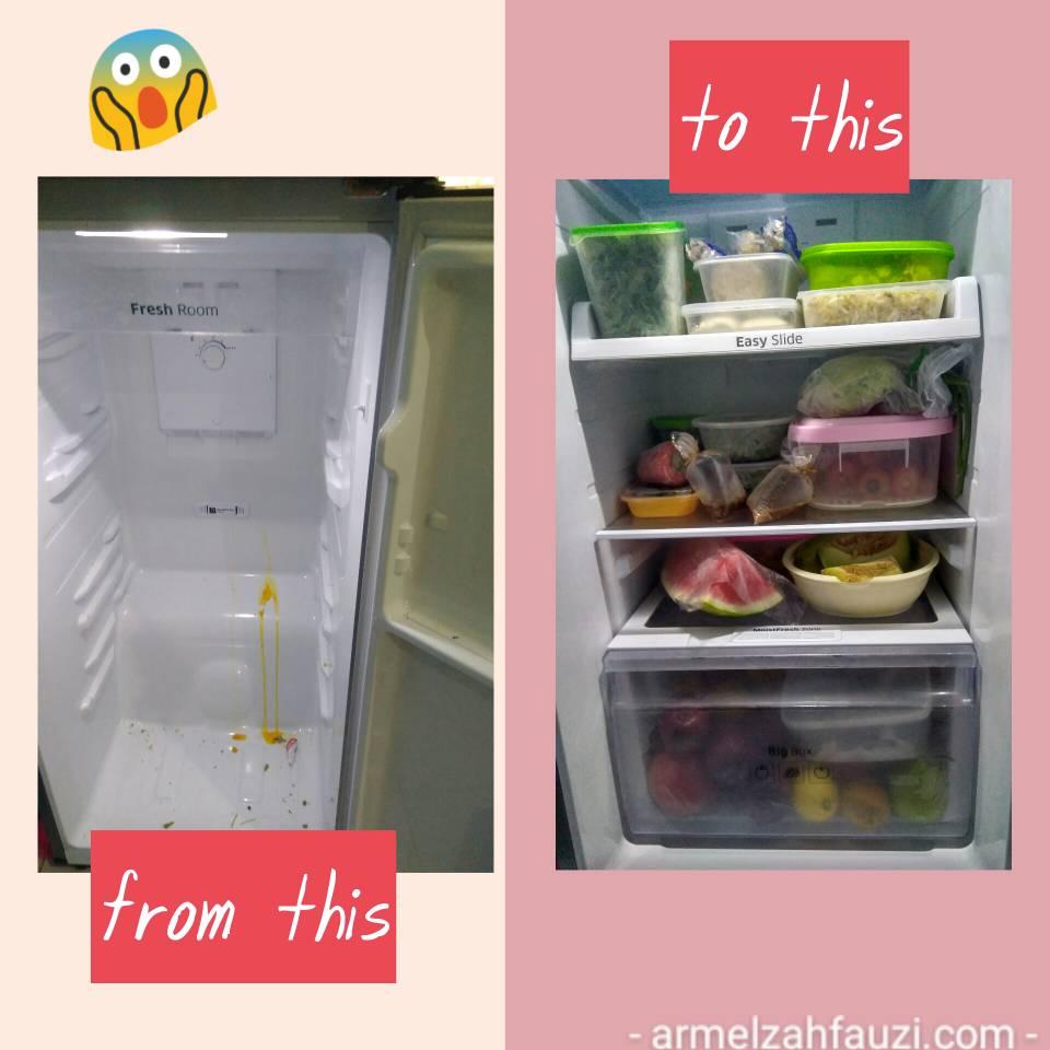 Membersihkan kulkas