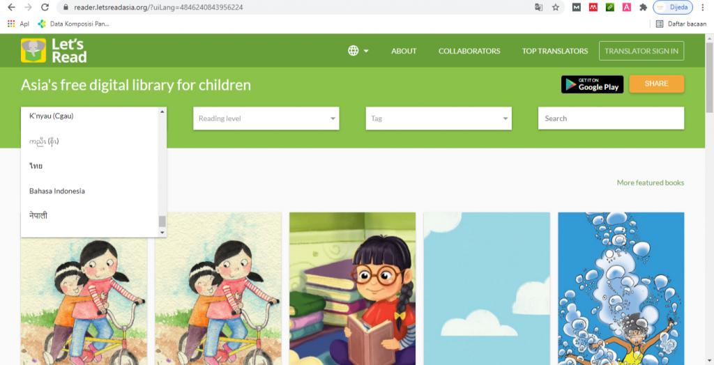 Tampilan buku berkualitas dan gratis di website let's read